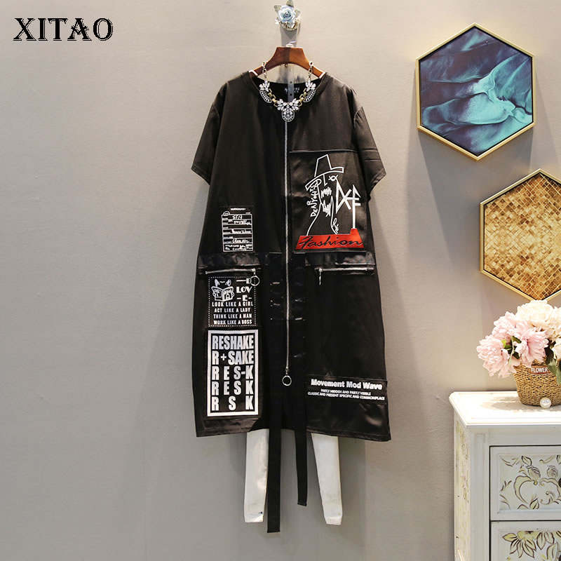 XITAO Tide Print Letter Plus Size Dress Suquined Elegant Women Irregular Pocket Korean Fashion Pullover Match All Summer DLL3176