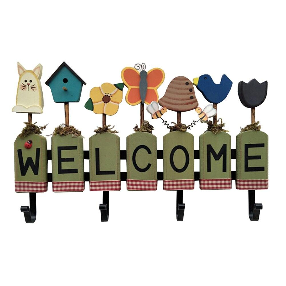 1pcs Welcome Sign Hanger Wooden Clothes Hook Cartoon Pattren Home Wall Hanging Storage Rack Kitchen Hangers  Diy Decoration Hook