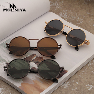 MOLNIYA Vintage Men Sunglasses Women Retro Punk Round Metal Frame Colorful Lens Sun Glasses Fashion Eyewear Gafas sol mujer
