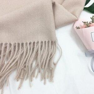 Image 1 - Индивидуальный однотонный шарф с кисточками для женщин, кашемировая зимняя шаль с вышивкой на заказ для женщин и девушек, шарф, массивный подарок