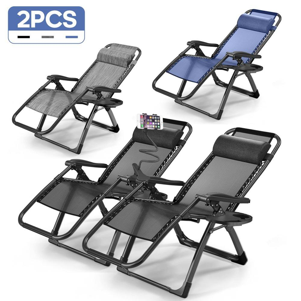 Furgle 2PCS Zero Gravity Chairs Case Of (2) Lounge Patio Chair Outdoor Yard Beach Pool Folding Recliner Chaise With Phone Holder