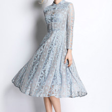 Sweet Memory 2021 Long Sleeve Cocktail Dresses Spring Lace Dress Fashion Vintage Floral Hollow Out Women Wedding Party Robe