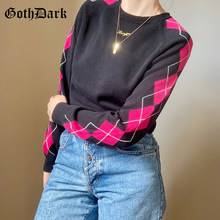 Goth Dark Vintage 90s Streetwear Gothic Sweaters E-girl Fashion Argyle Printed Color Blocking Pullovers Long Sleeve Loose Tops(China)