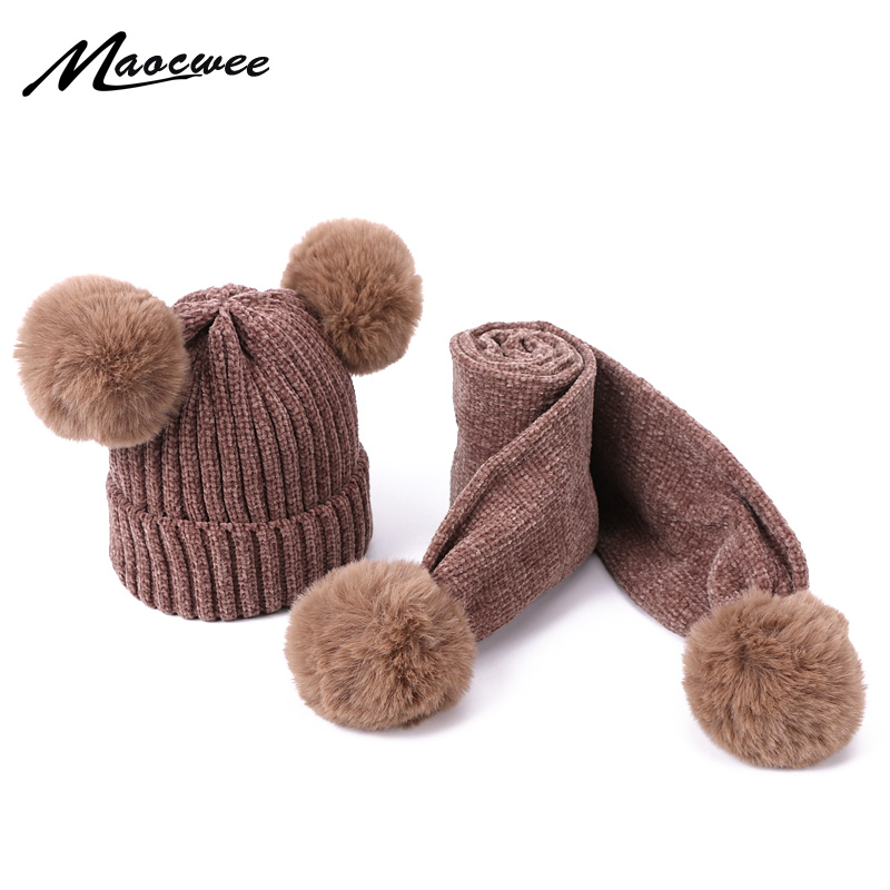 Girls Winter Warm Children Scarf Hat Set Women PomPon Beanies Knitted Cap Wool Crochet Caps Unisex Kids Striped Skullies Hats