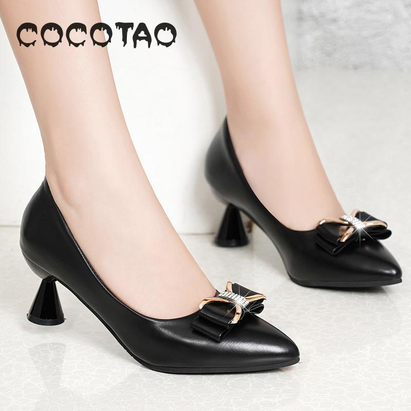 Four Seasons New Single Shoes Womens Shoes Pointed Shallow Mouth Flat with Flat Bow Small Size Black Work Womens Shoes