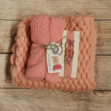 45x40cm Handcraft Soft Baby Photo Blanket+140*30cm Stretch Knit Wrap+matched Cotton headband for Newborn Photography Props
