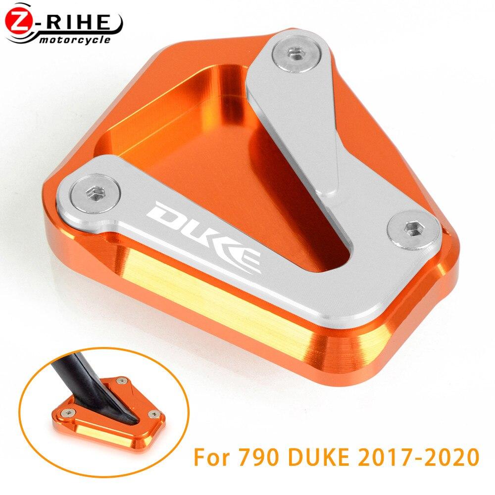 DUKE 790 Motorcycle Kickstand Side Stand Enlarge CNC Aluminum Side Stand Plate for KTM Duke 790 2017 2018 2019-BLACK+ORANGE