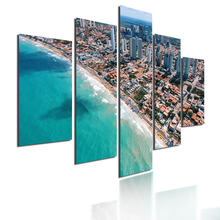 Город и деревья на пляже 5 шт плакат пейзаж Настенная картина