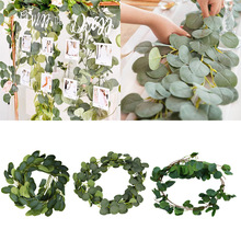 Wall-Decor Wreath Garland-Leaves Rattan Eucalyptus Artificial-Plants Fake Medding Vines