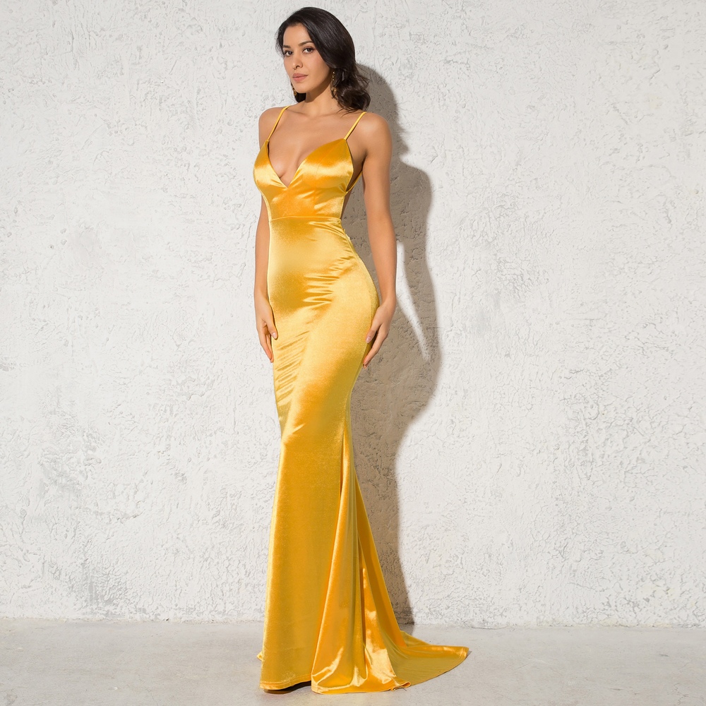 Deep V-Neck Burgundy Satin Mermaid Open Back Long Evening Dress 9