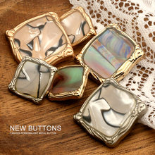 6pieces Square Metal Gold Needlework Buttons for Clothing Decorative Women Cardigan Sweater Sewing Accessories Fancy Designers
