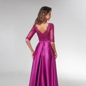 Image 3 - 여자 보라색 긴 소매 이브닝 가운 우아한 공식적인 긴 드레스 새틴 라인 연예인 공식 드레스 저녁 2021