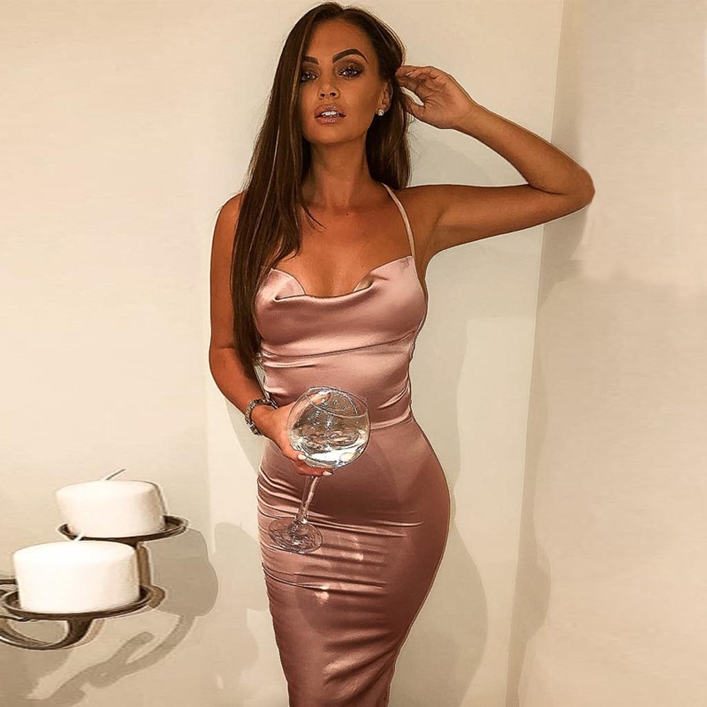 Satin Summer Dress Women Bodycon Long Midi Dress Halter Sleeveless Backless Sexy Club Clothes Elegant