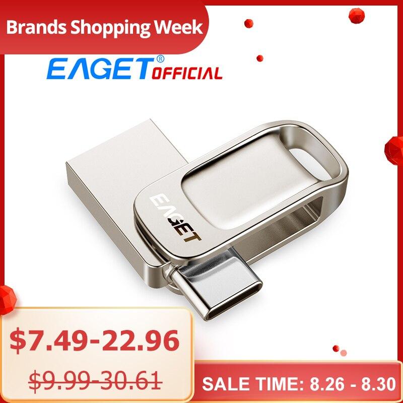 Eaget CU31 OTG USB3.1 lecteur Flash Mini Flash disque type-c haute vitesse clé USB 16G 32G 64G 128G