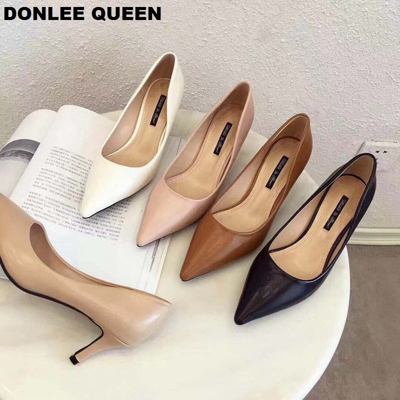 New Fashion PU Leather High Heels Shoes Women Pumps Pointed Toe Work Shoe Stiletto Women Shoes Wedding Party Elegant Pumps Mujer