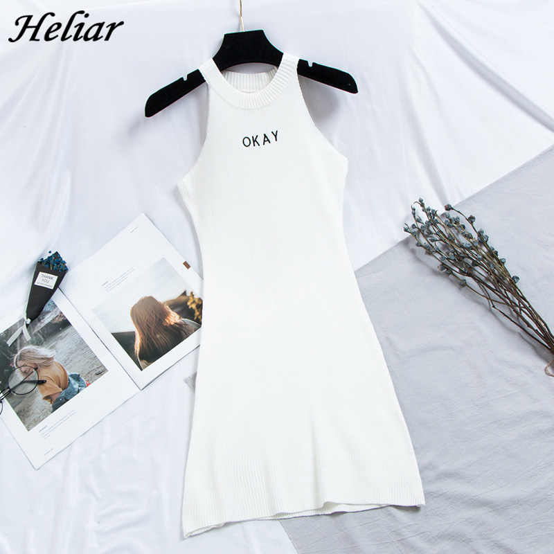 """HELIAR 2020 春女性ドレス女性ノースリーブドレスエレガントなパーティー A ラインニット Leterring """"大丈夫"""" 女性のための"""