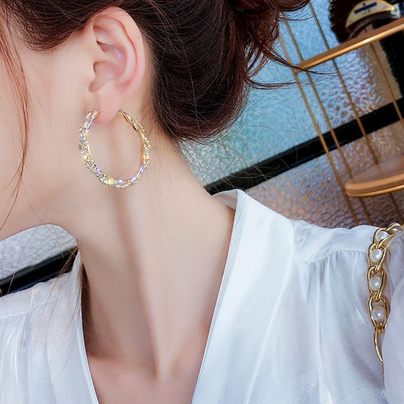 New Fashion Gold Silver Color Crystal Hoop Earrings Round Star Heart Earrings Statement Jewelry For Party Factory Wholesale