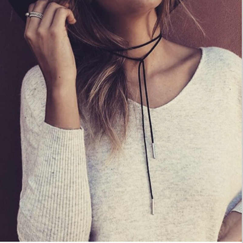 Nowa moda biżuteria czarny skórzany naszyjnik Choker długi Tassel złoty kolor wisiorek naszyjnik dla kobiet w stylu Punk hurtownie 4ND89