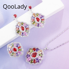 QooLady Vintage 3pcs Jewelry Sets Round Multicolor Cubic Zirconia Stone Fashion Ladies Party Necklaces Earrings Rings Set Z015