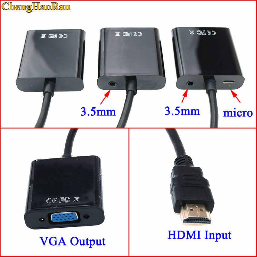 Chenghaoaran HDMI untuk VGA Adapter Male To Female Converter Adaptor 1080P Digital Ke Analog Video Audio untuk PC Laptop meja