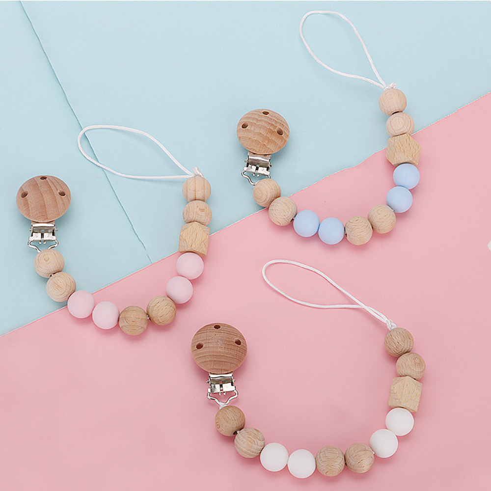 Wooden Baby Pacifier Clip Anti-chain Infant Pacifier Chain  Baby Teether Pacifier Clips Infant Feeding