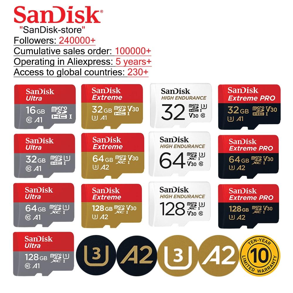 SanDisk карта памяти Micro SD, класс 10, 16 ГБ, 32 ГБ, 64 ГБ, 100% ГБ
