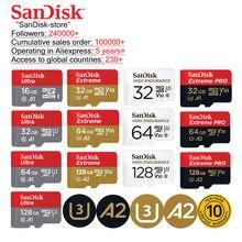 Sandisk 100% original a1a2 microsd tf cartão class10 16gb 32gb micro cartão sd 64gb 128gb cartão de memória vídeo cartão sd u3 memória
