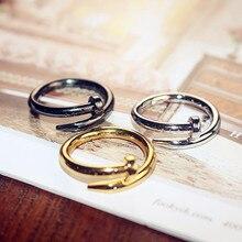 Корейская версия люкс посеребренные открытые ногтей кольцо Женская мода цвета розового золота индекс кольцо на палец личность чистая как у...
