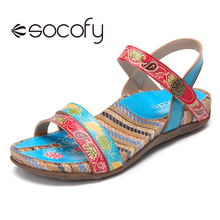 Sandal Beach-Shoes Floral Casual Women Summer Ladies SOCOFY Buckle Retro-Style Metal