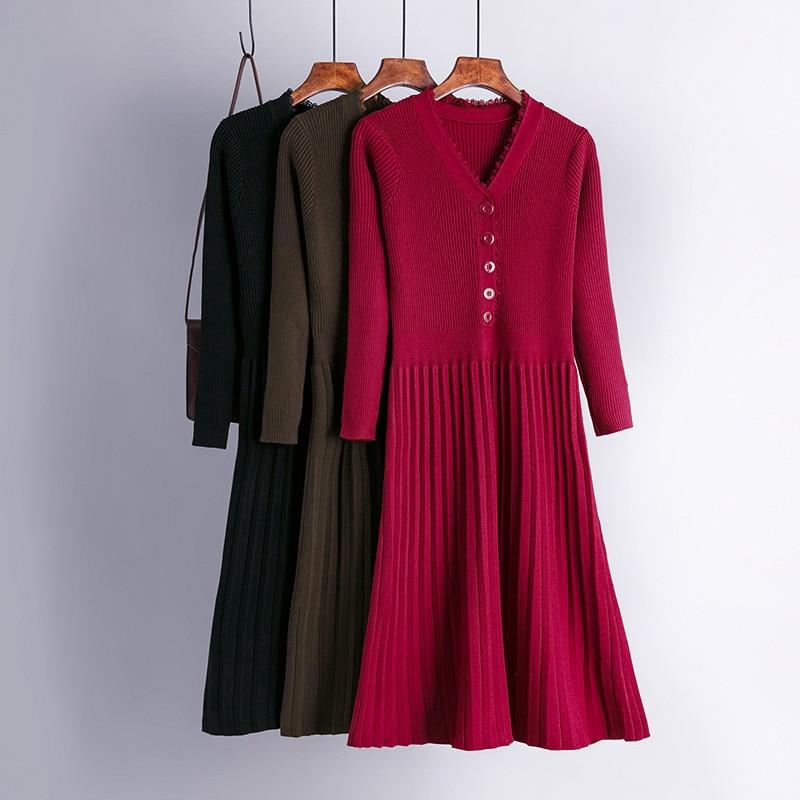 Длинное вязаное женское платье-свитер HLBCBG, зимнее теплое шикарное плиссированное платье с длинным рукавом, ТРАПЕЦИЕВИДНОЕ ПЛАТЬЕ-миди с V-о...
