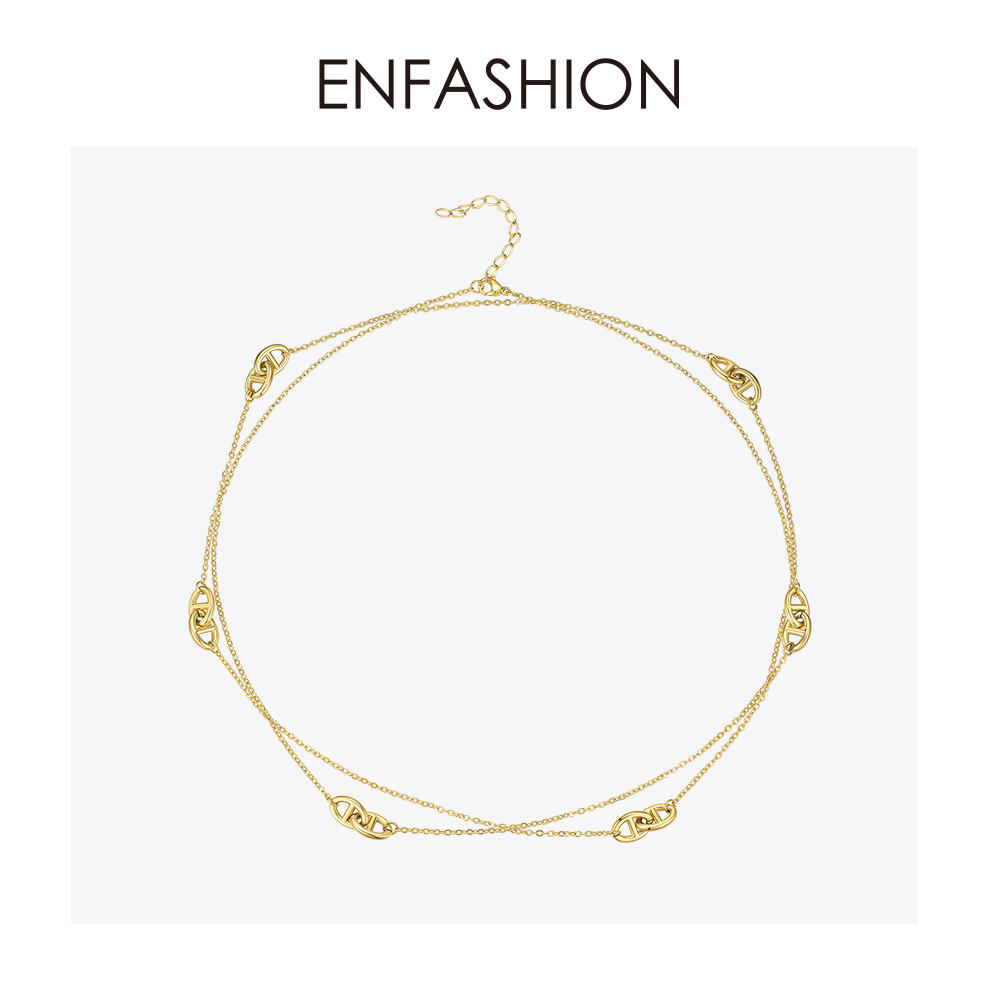 Image 2 - ENFASHION Geometric Hollow Chain Choker Necklace Women Gold Color Stainless Steel Long Necklace Fashion Femme Jewelry P193060Chain Necklaces   -
