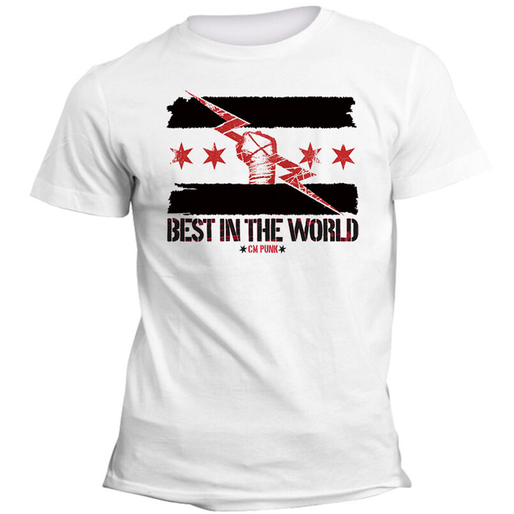 T-Shirt Uomo Donna CM Punk Best In The World Wrestling Art Cotton Tee Shirt Big Tall