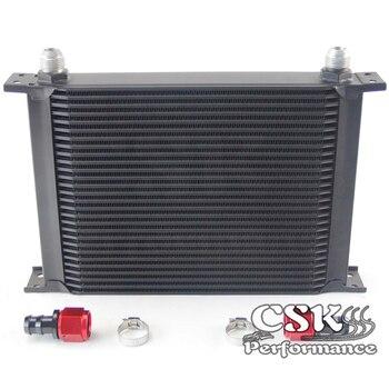 28 Row AN10 Universal Aluminum Engine Transmission 248mm Oil Cooler British Type w/ Fittings Kit Black