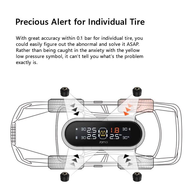 English APP 70mai Tire Pressure Monitoring System Solar Power Built in External 70 mai TPMS Tire