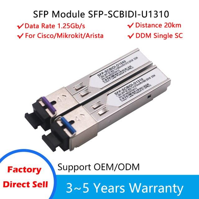 1pair SC SFP Module Gigabit BIDI 1000Mbps Fiber Tranceiver  Module Mini GBIC SFP Module Compatible with Mikrotik/Cisco Switch