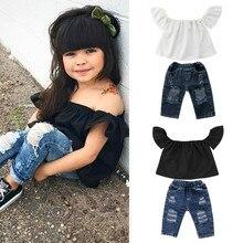Детские комплекты одежды для маленьких девочек Летняя уличная одежда из 2 предметов для девочек, футболки с открытыми плечами рваные джинсовые штаны детская одежда От 0 до 4 лет
