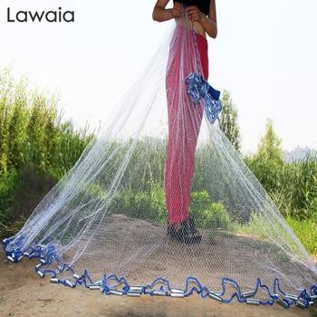Lawaia Hand Cast Net American Style Diameter 2.4m-7.2m Monofilament Nylon Folding Small Mesh Fishnet With or No Pendants