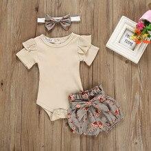 Для маленьких девочек Однотонные Цвет топы для новорожденных и детей, детские комплекты для маленьких девочек Ползунки с оборками боди + шо...