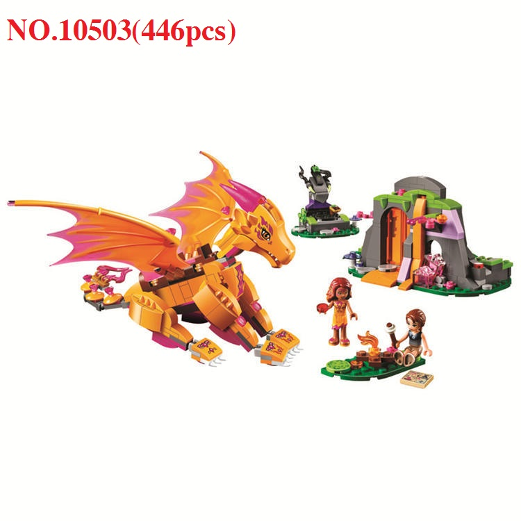 NEW Bela 10503 Elves Fire Dragon Lava Cave Figures Building Block 446pcs Fairy Building Bricks Toys for Children image