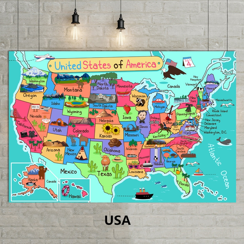 1 Pcs Cartoon Map Americacartoon Illustration Wall Painting Fabric Painting Core
