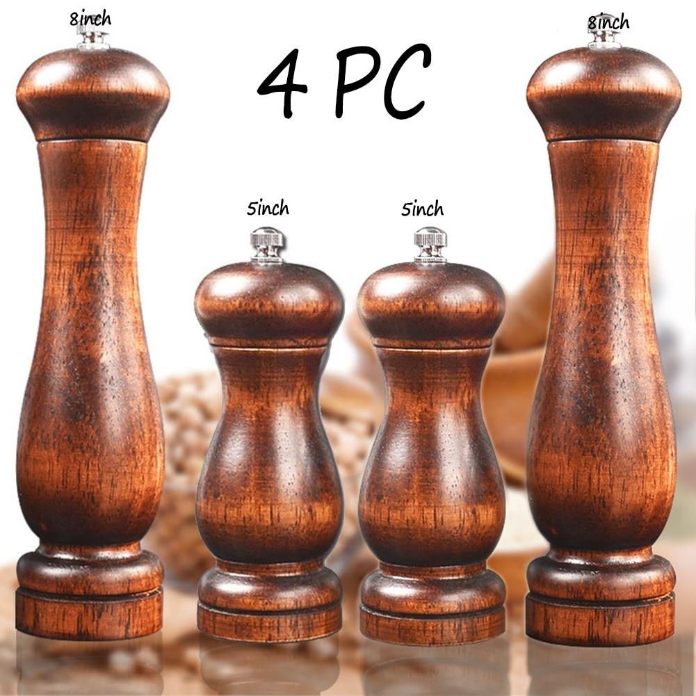 4PC Oak Pepper Grinder Coarse Salt Solid Wooden Oak Pepper Mill Handheld With Adjustable Ceramic Core Manual Kitchen Tools