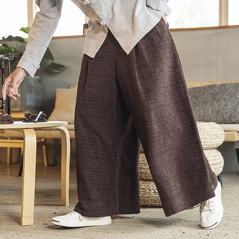 New Cotton Linen Wide Leg Pants Men Chinese Style Male Fashion Loose Japanese Streetwear Trousers Solid Drawstring Harem Pants