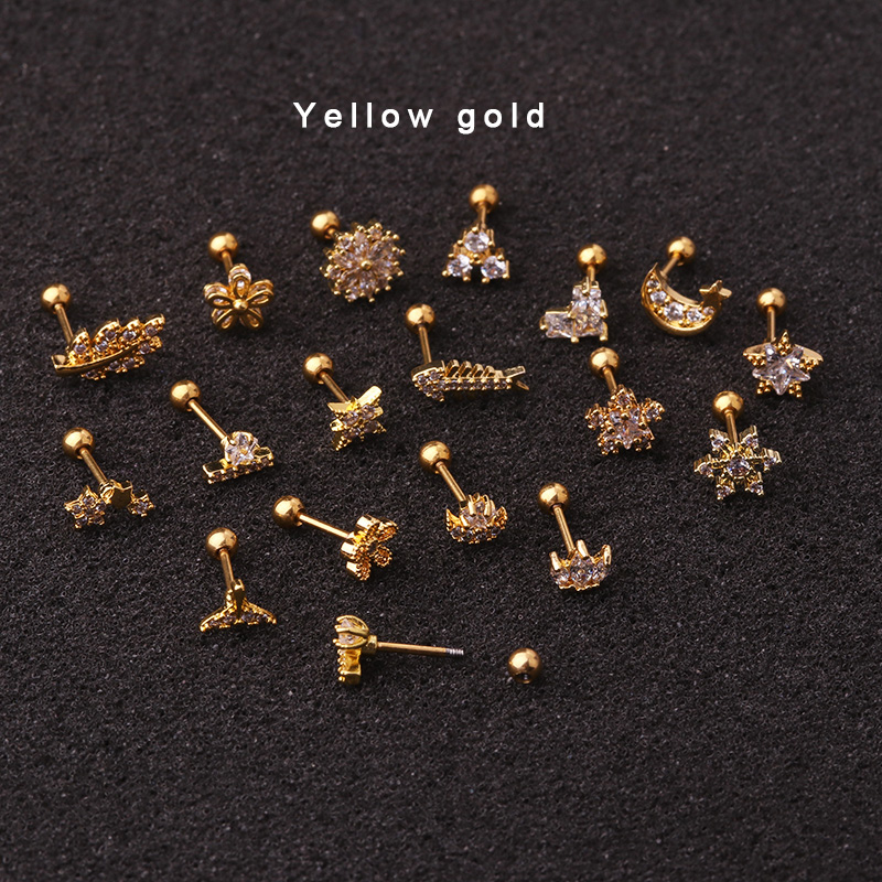 Sellsets 1Piece 20g Gold And Silver Color Cz Cartilage Moon Star Flower Crown Helix Piercing Jewelry Tragus Stud Conch Earring