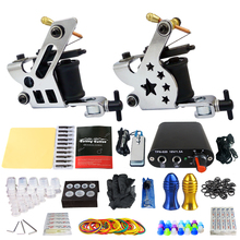 Beginner Complete Tattoo Machine Tattoo Starter Kits 2 Pro Machine Guns Power Supply Needle Grips Tips Permanent Makeup Device complete tattoo machine kit set 2 coils guns 5 colors black pigment sets power tattoo beginner grips kits permanent makeup