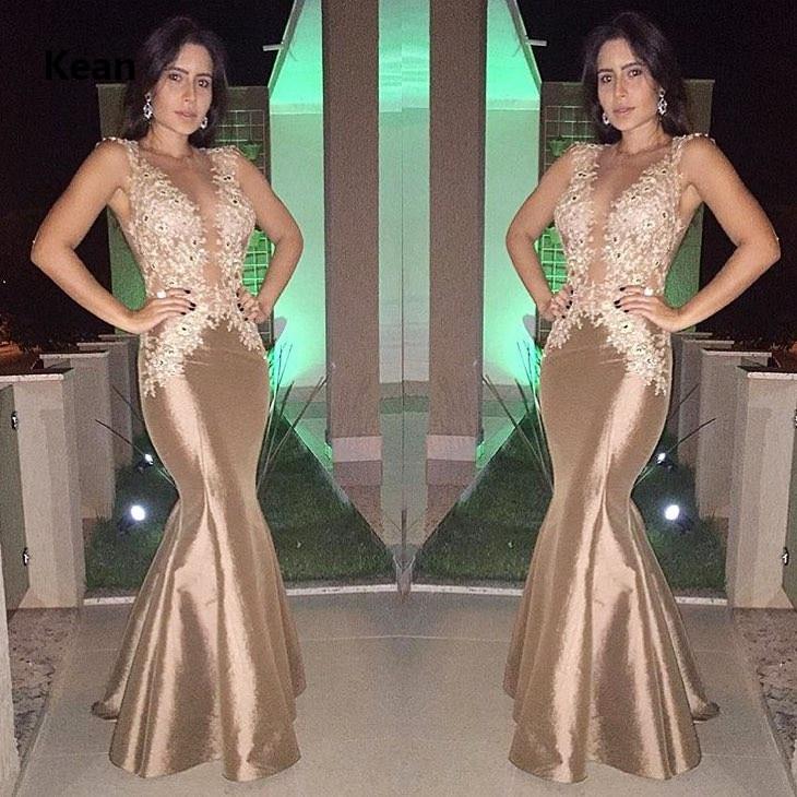 Brown Taffeta Evening Dress Deep-V Applique Mermaid Special Occasion Party Islamic Dubai Kaftan Saudi Arabic Evening Gown Prom