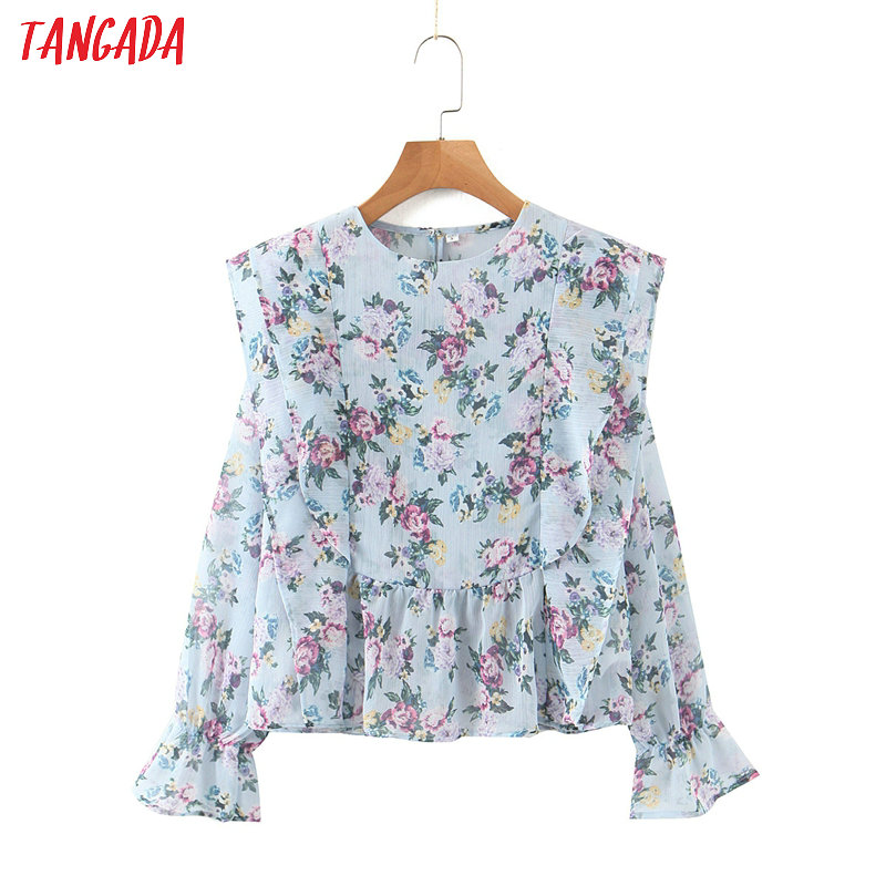 Tangada Women Retro Print Chiffon Shirt Summer Blouse Ruffles Long Sleeve Chic Female Tops SL279