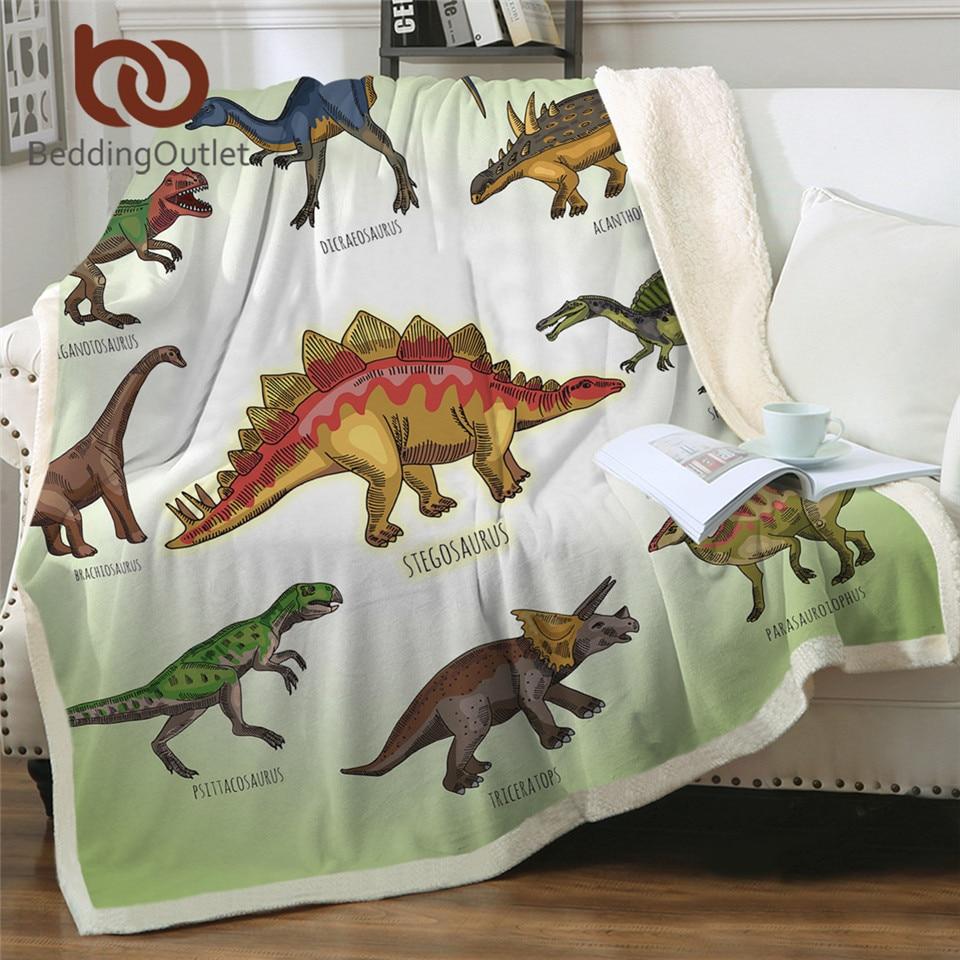 BeddingOutlet Dinosaur Sherpa Throw Blanket Jurassic Printed Bedspread for Kids Stegosaurus Plush Blanket Boys Cartoon Bedding 1