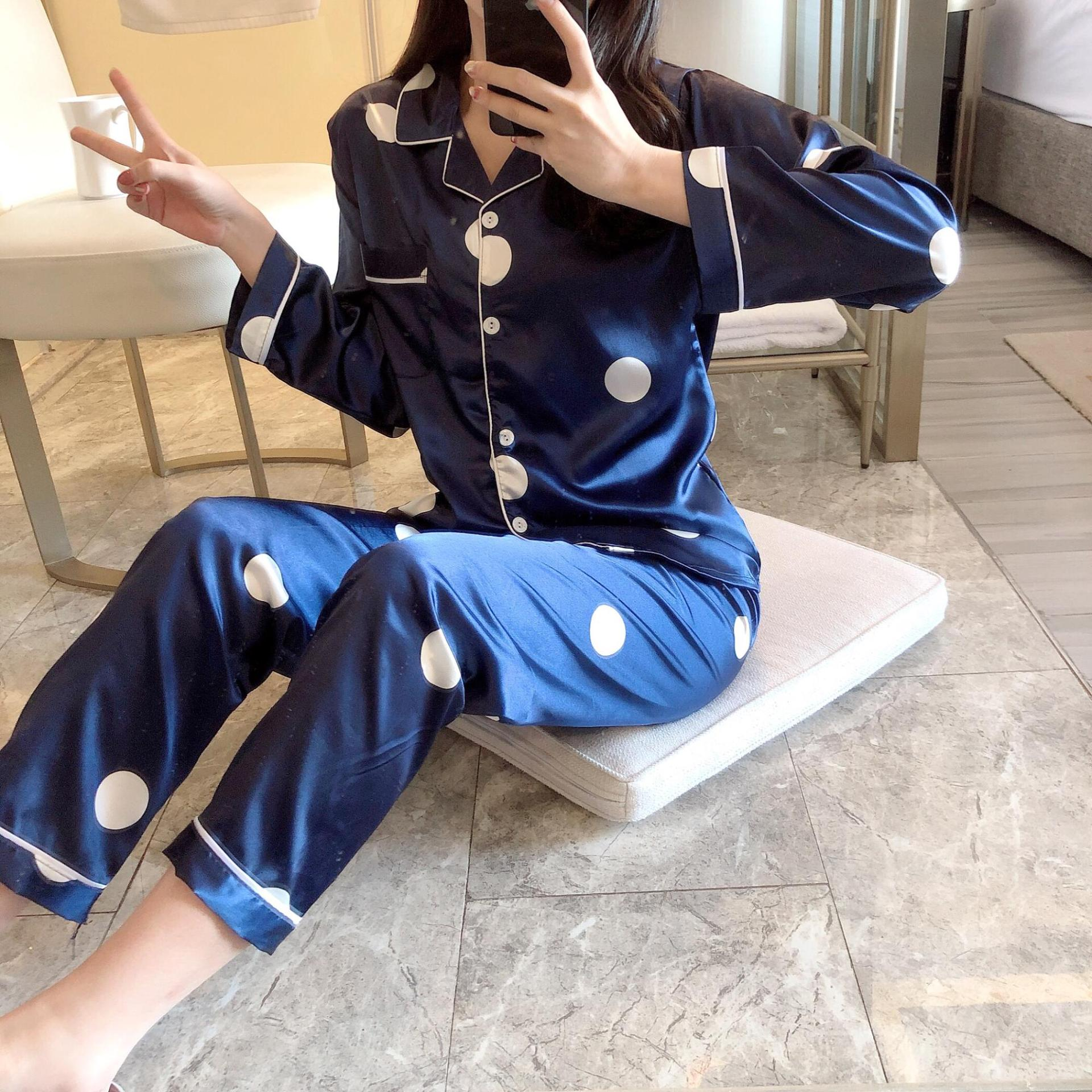 Spring And Autumn Long Sleeve Trousers Pajamas WOMEN'S Suit Imitated Silk Fabric Cardigan Fold-down Collar Viscose Sweet Two-Pie