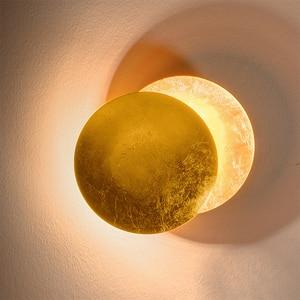 Настенный светильник в скандинавском стиле, минималистичный, креативный, для прохода, коридора, прикроватный, для гостиной, Круглый, золото...