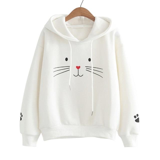 Women Casual Cat Printed Sweatshirt  My Pet World Store